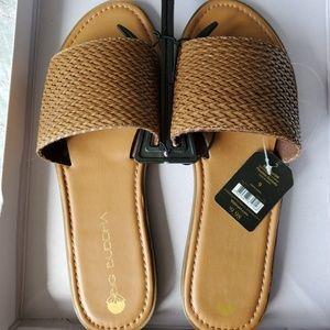 Big Buddha slide on tan flat sandals